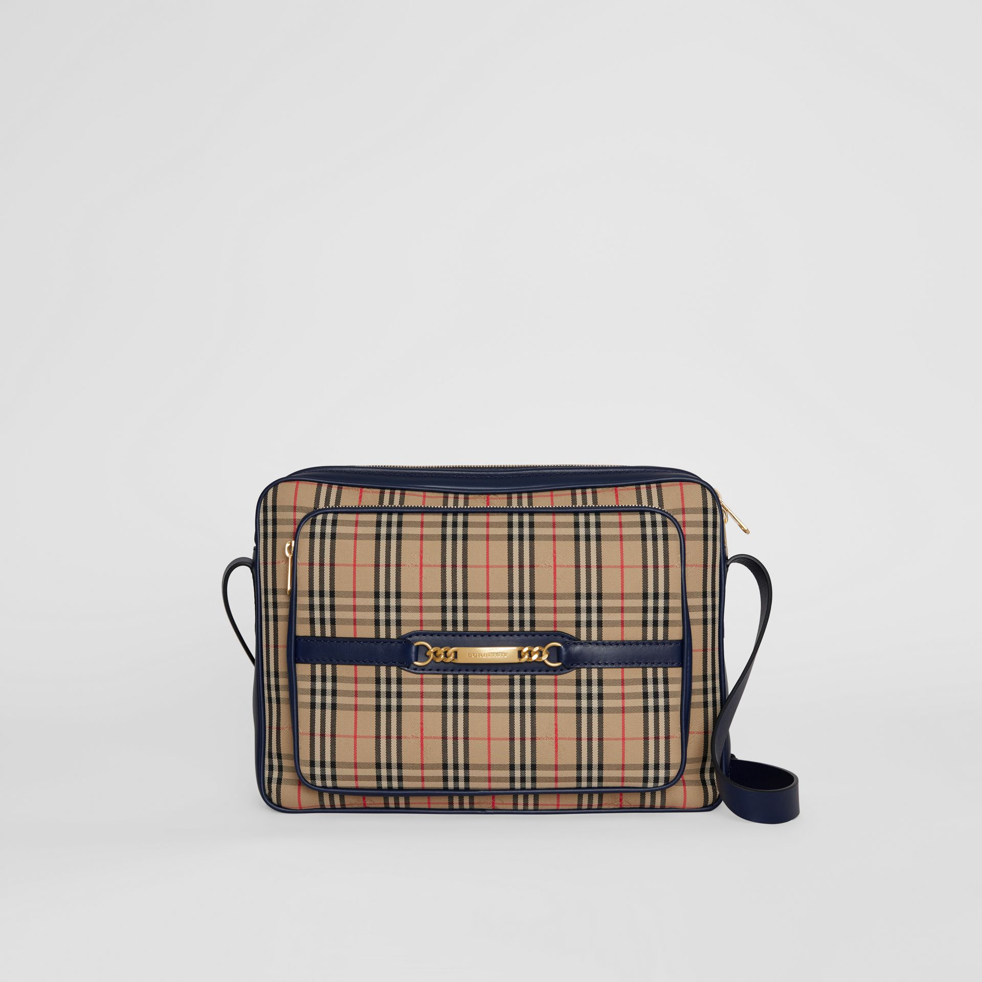 The Large 1983 Check Link Camera Bag in Ink Blue - Men | Burberry - gallery image 0