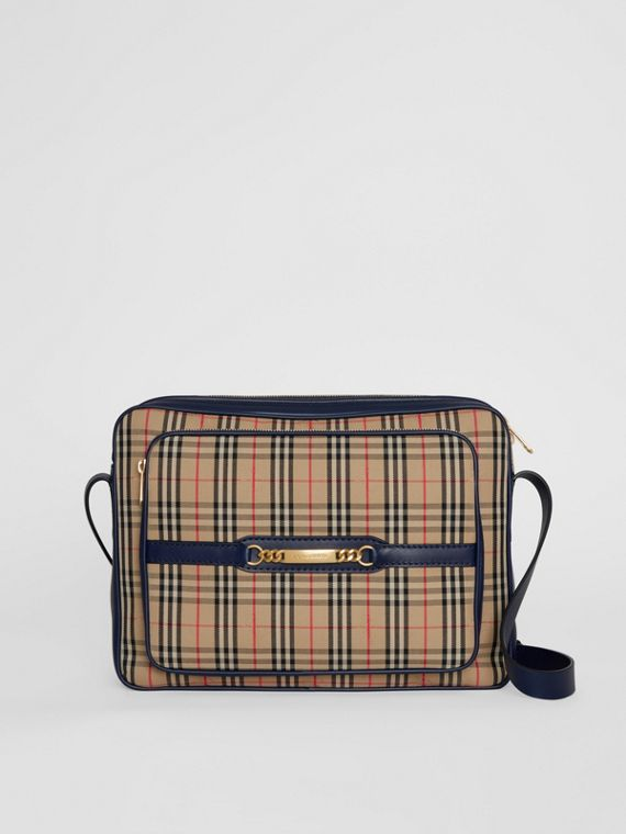 The Large 1983 Check Link Camera Bag in Ink Blue