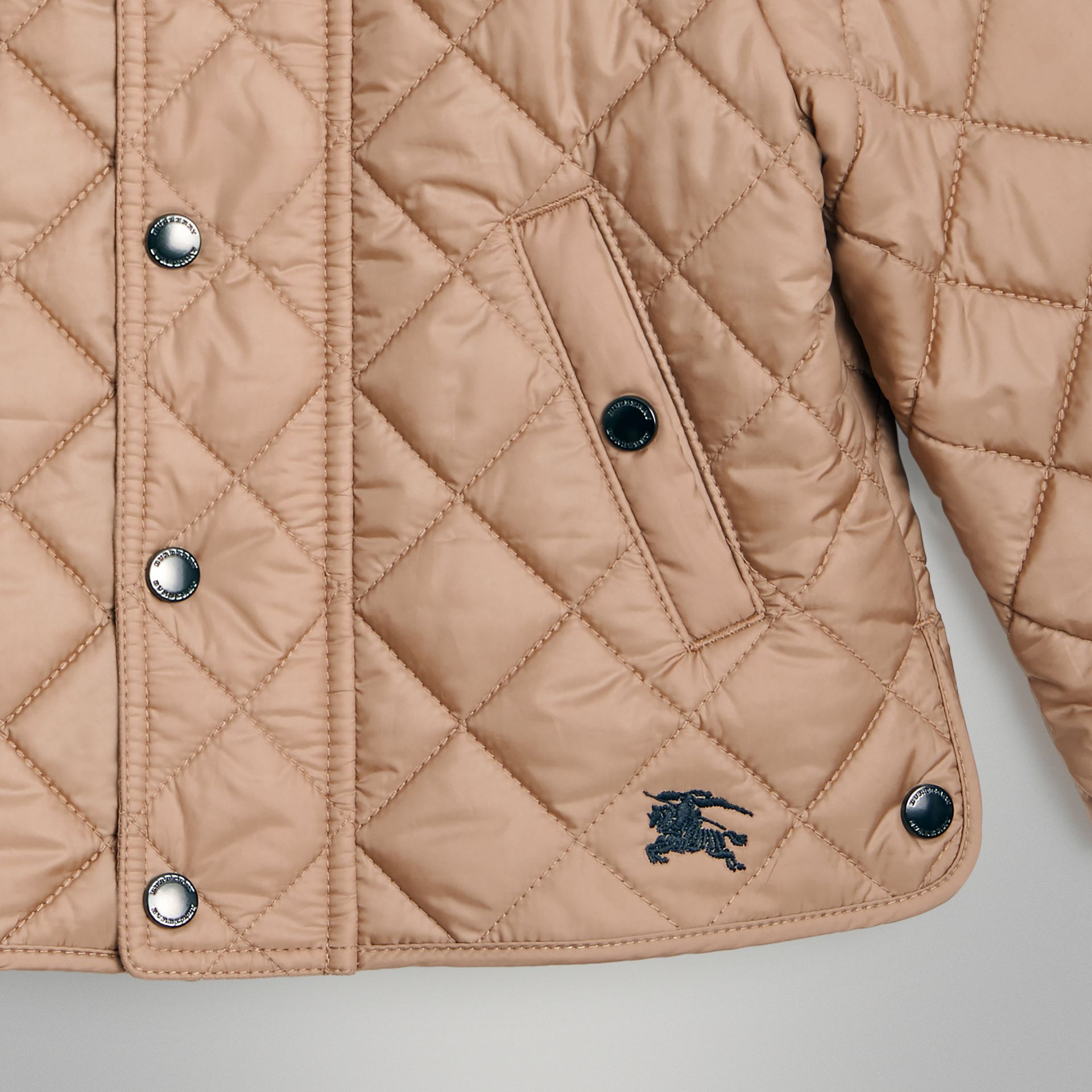 Lightweight Diamond Quilted Jacket in Camel - Children | Burberry - gallery image 5