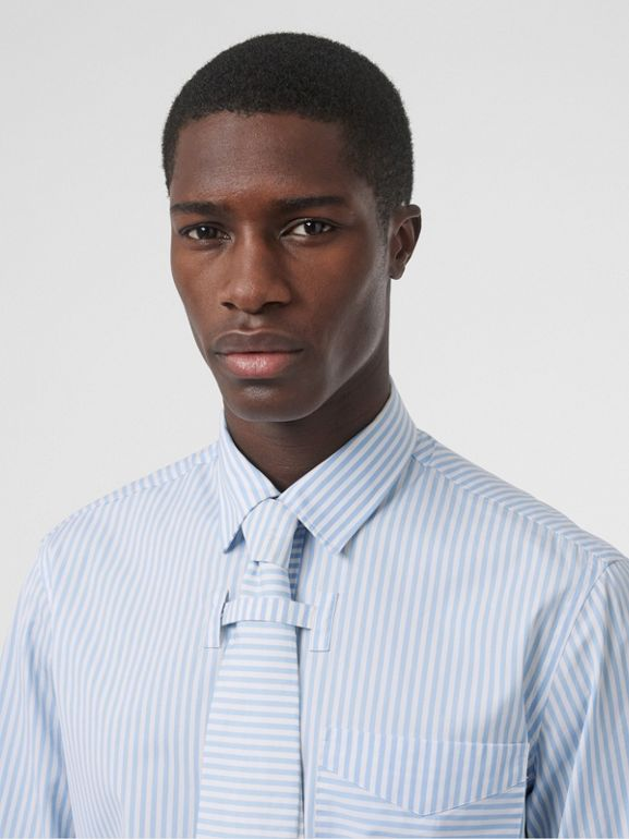 Striped Cotton Shirt and Tie Twinset in Pale Blue | Burberry - cell image 1