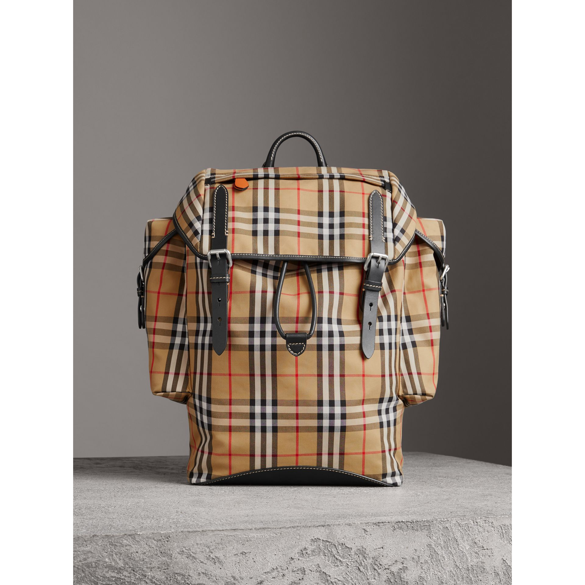 Vintage Check and Leather Backpack in Clementine - Men | Burberry United States - gallery image 6