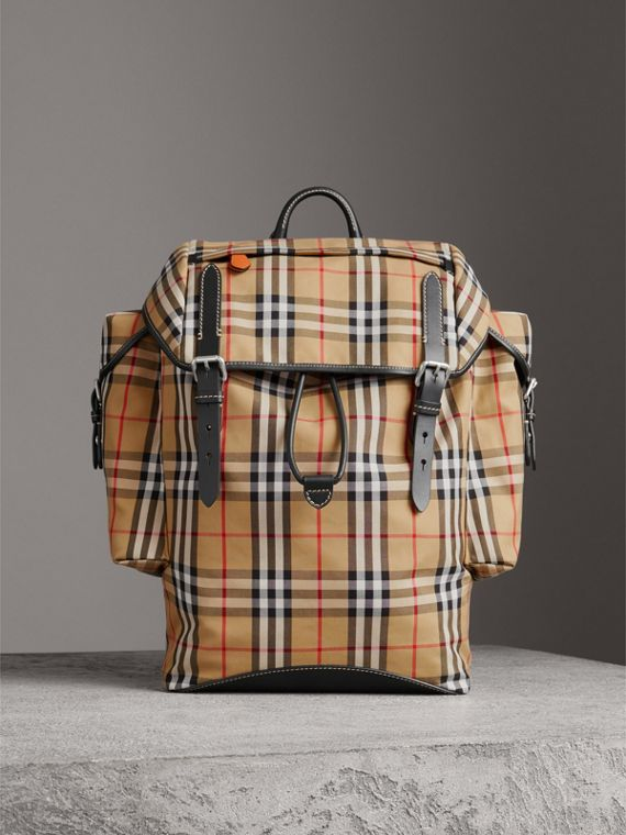 Vintage Check and Leather Backpack in Clementine