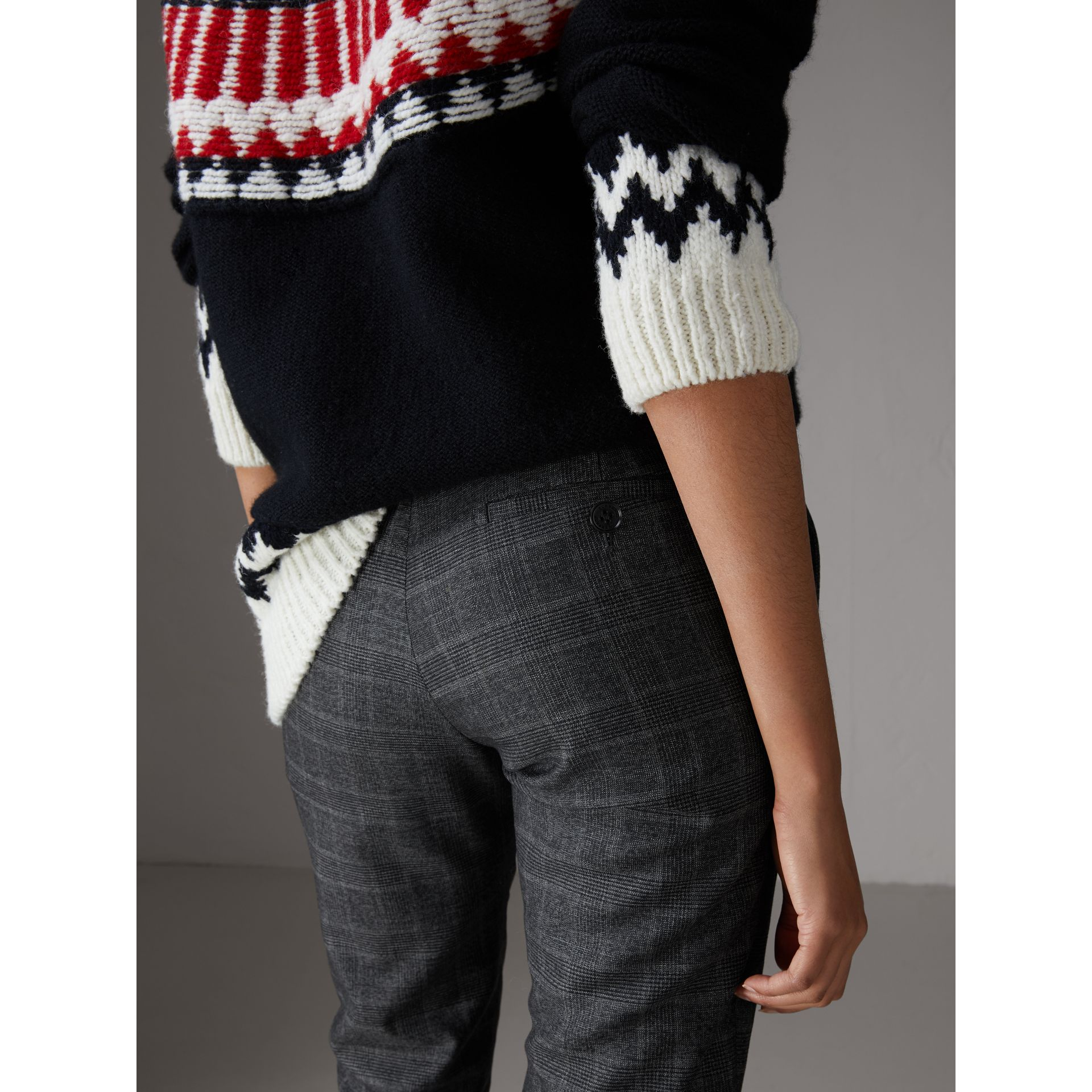 Prince of Wales Check Wool Blend Trousers in Dark Grey - Women | Burberry United Kingdom - gallery image 1
