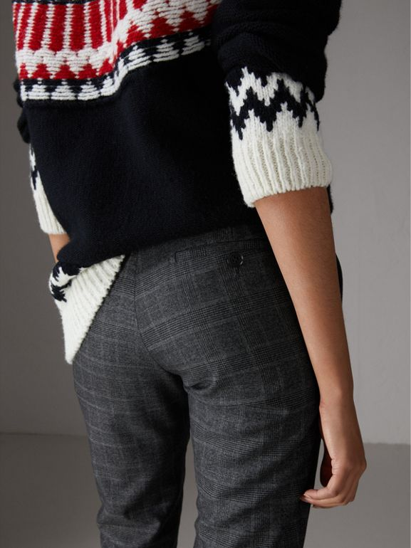 Prince of Wales Check Wool Blend Trousers in Dark Grey - Women | Burberry United Kingdom - cell image 1