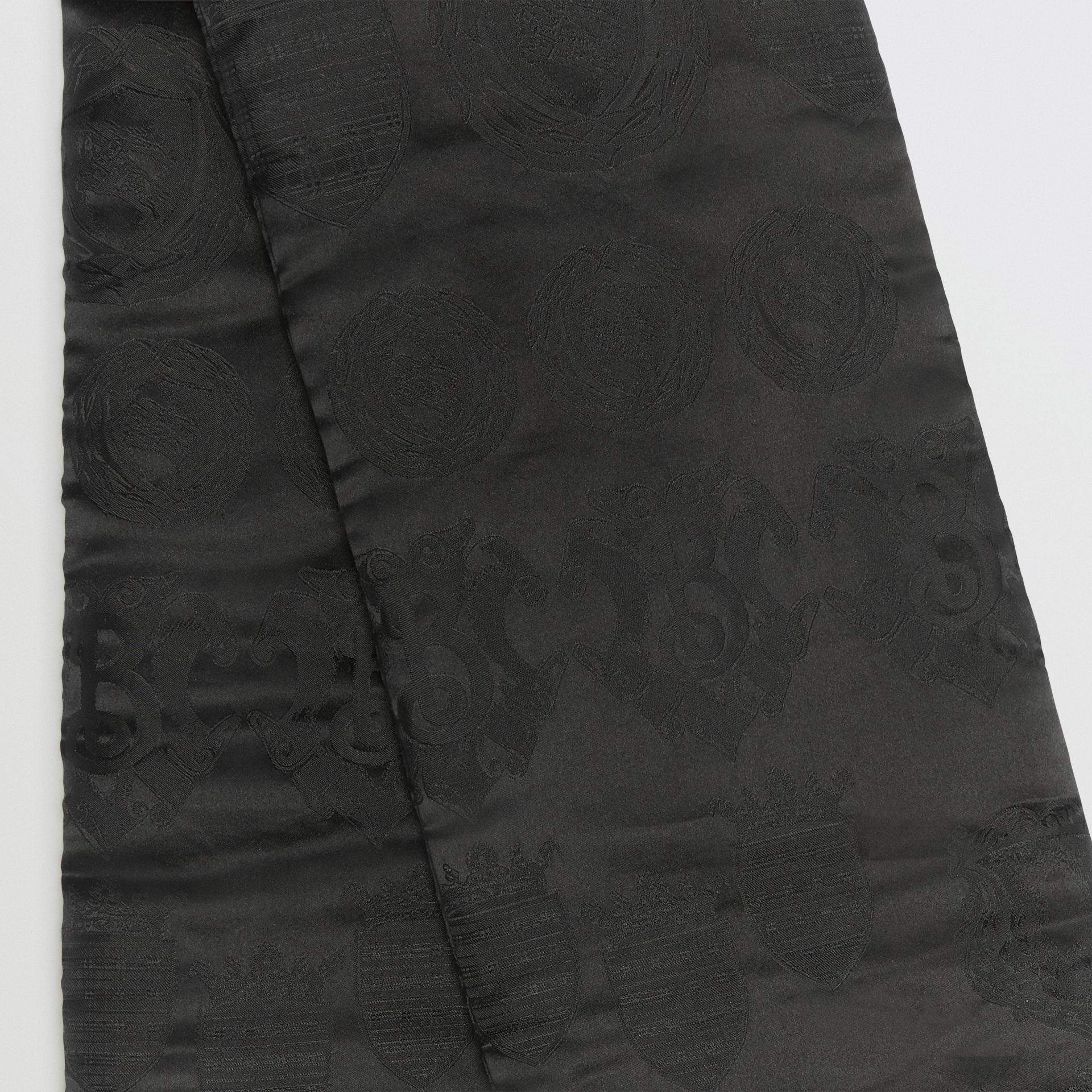 Archive Shield Silk Jacquard Puffer Scarf in Black | Burberry United States - gallery image 1