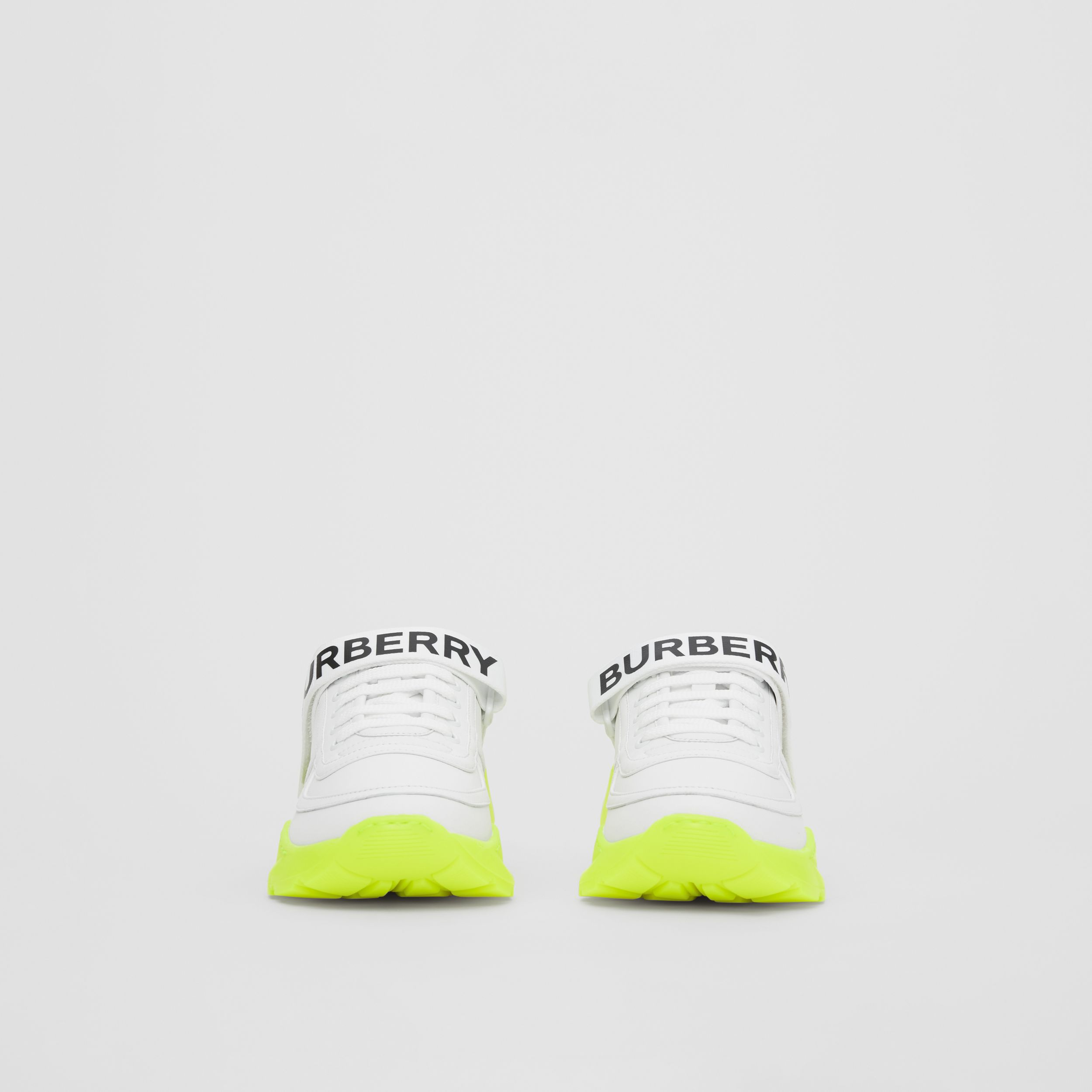 Logo Detail Leather and Nylon Sneakers in Optic White/fluorescent Yellow - Women | Burberry United Kingdom - 4