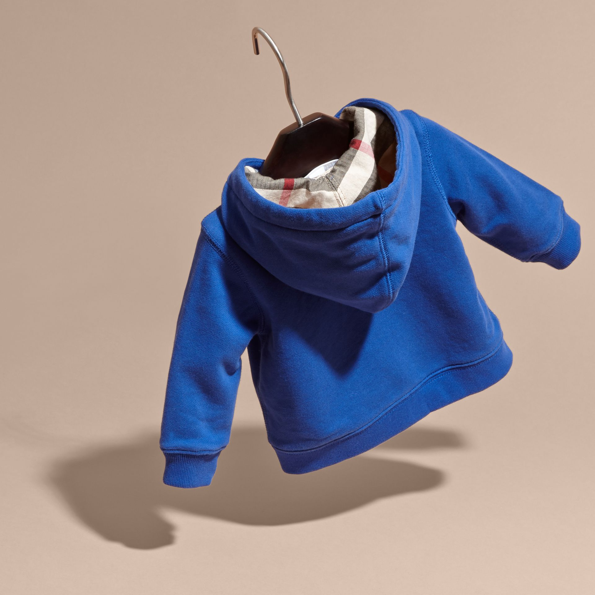 Brilliant blue Check Detail Hooded Cotton Top - gallery image 4