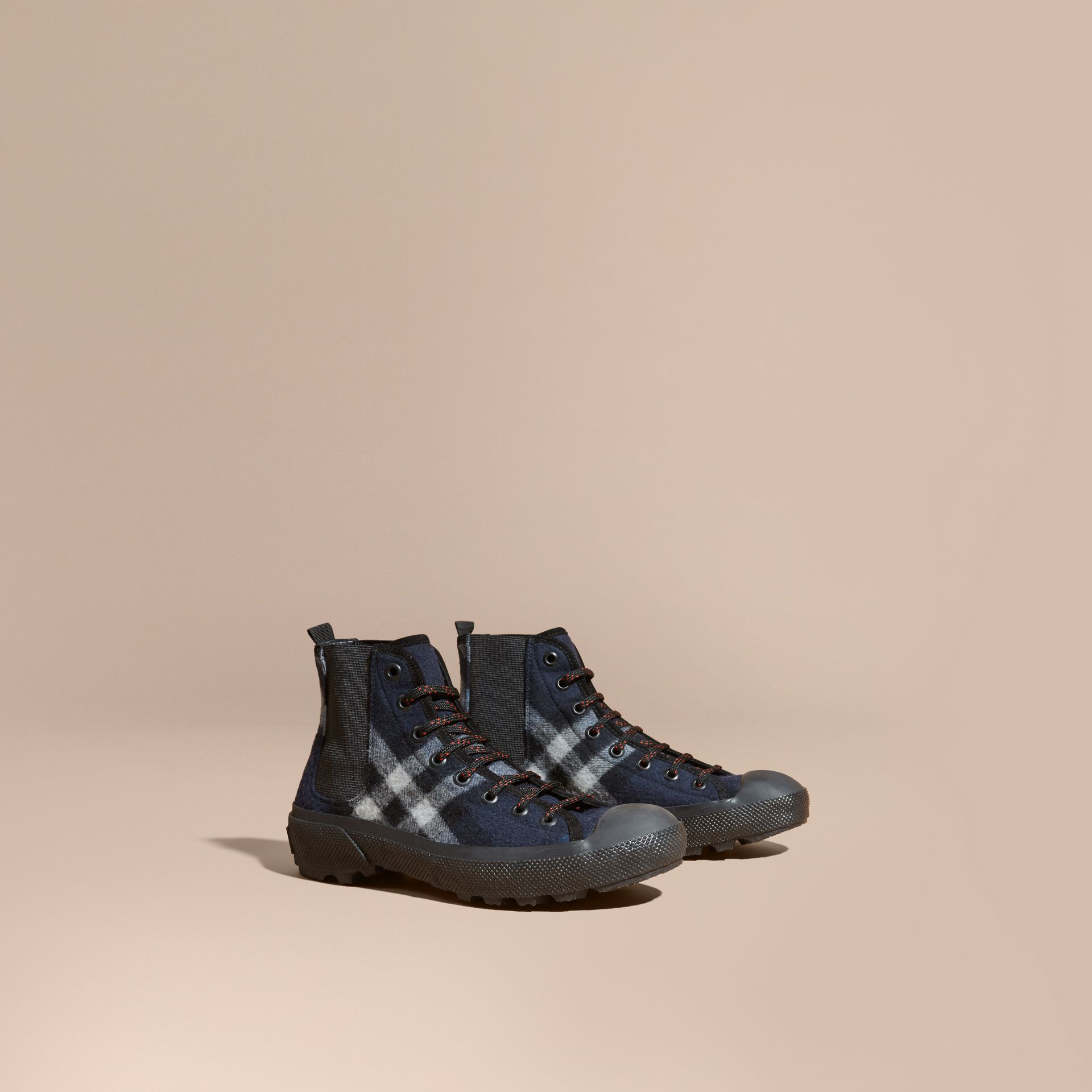 Dark indigo Check Technical Wool and Vulcanised Rubber Boots Dark Indigo - gallery image 1