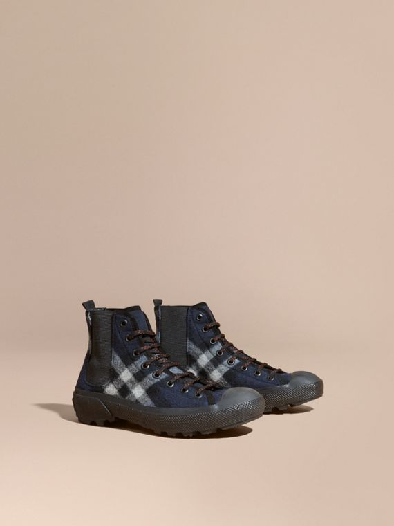 Check Technical Wool and Vulcanised Rubber Boots Dark Indigo