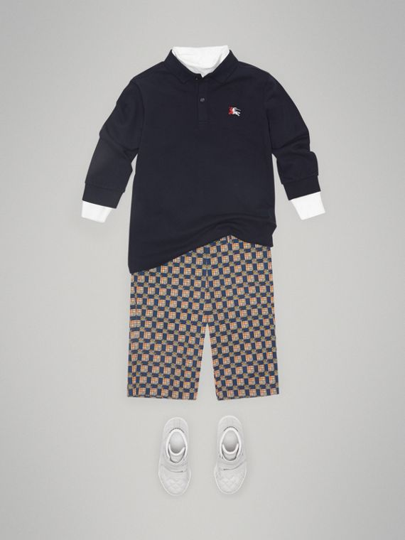 Long-sleeve Cotton Piqué Polo Shirt in Navy - Boy | Burberry United Kingdom - cell image 2
