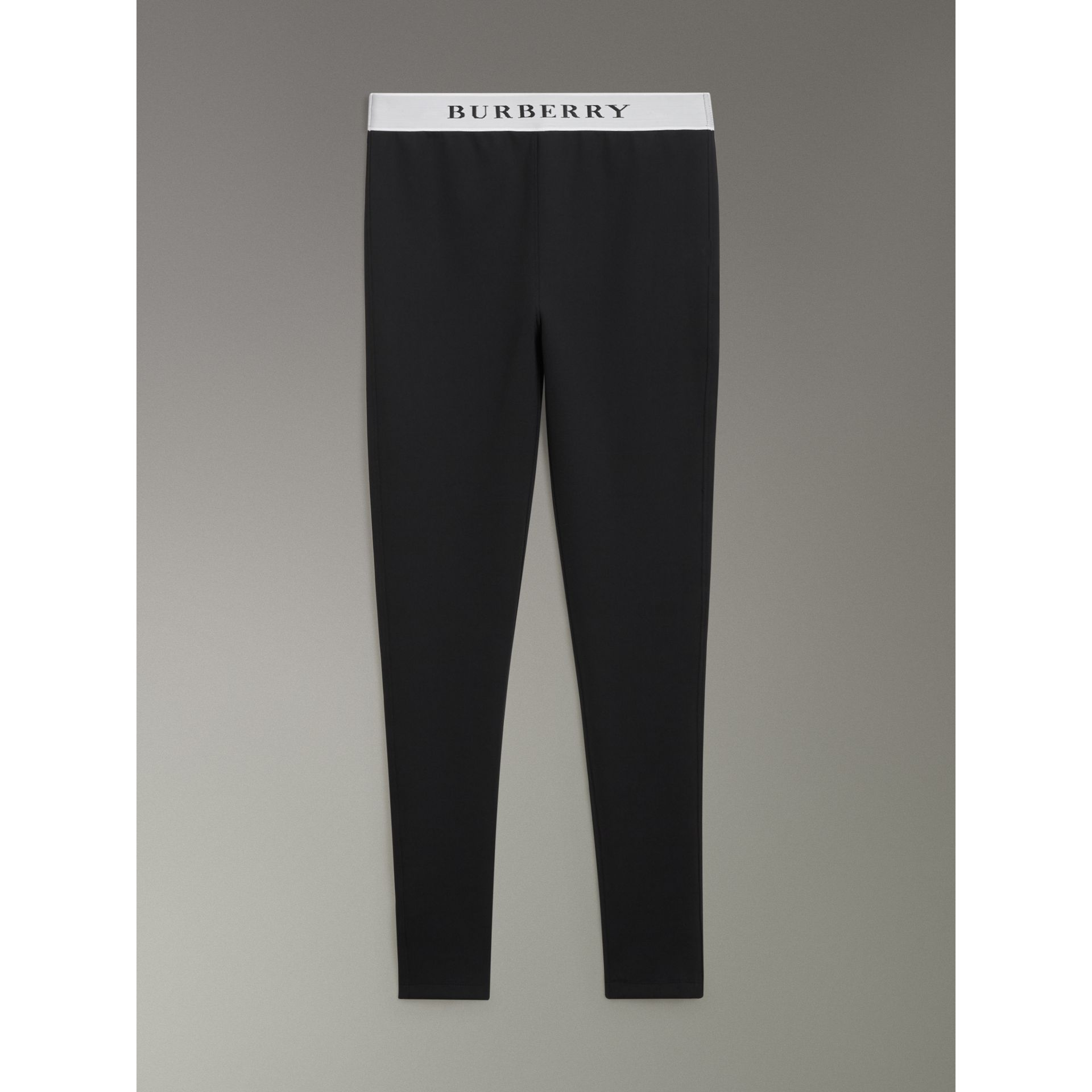 Logo Detail Jersey Leggings in Black - Women | Burberry - gallery image 3
