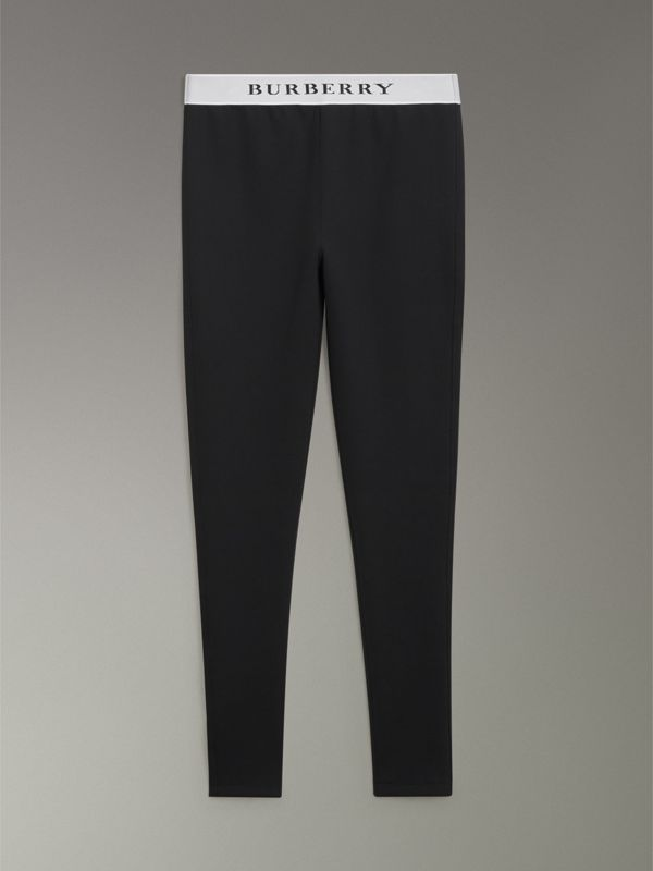 Logo Detail Jersey Leggings in Black - Women | Burberry - cell image 3
