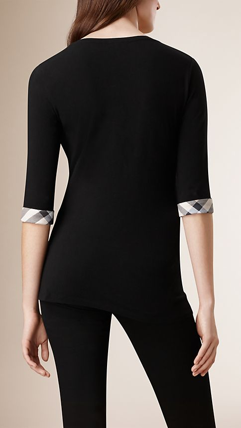 Black Check Cuff Stretch-Cotton Top Black - Image 2