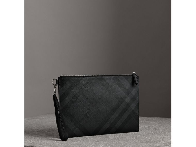 London Check Zip Pouch in Charcoal/black - Men | Burberry - cell image 4