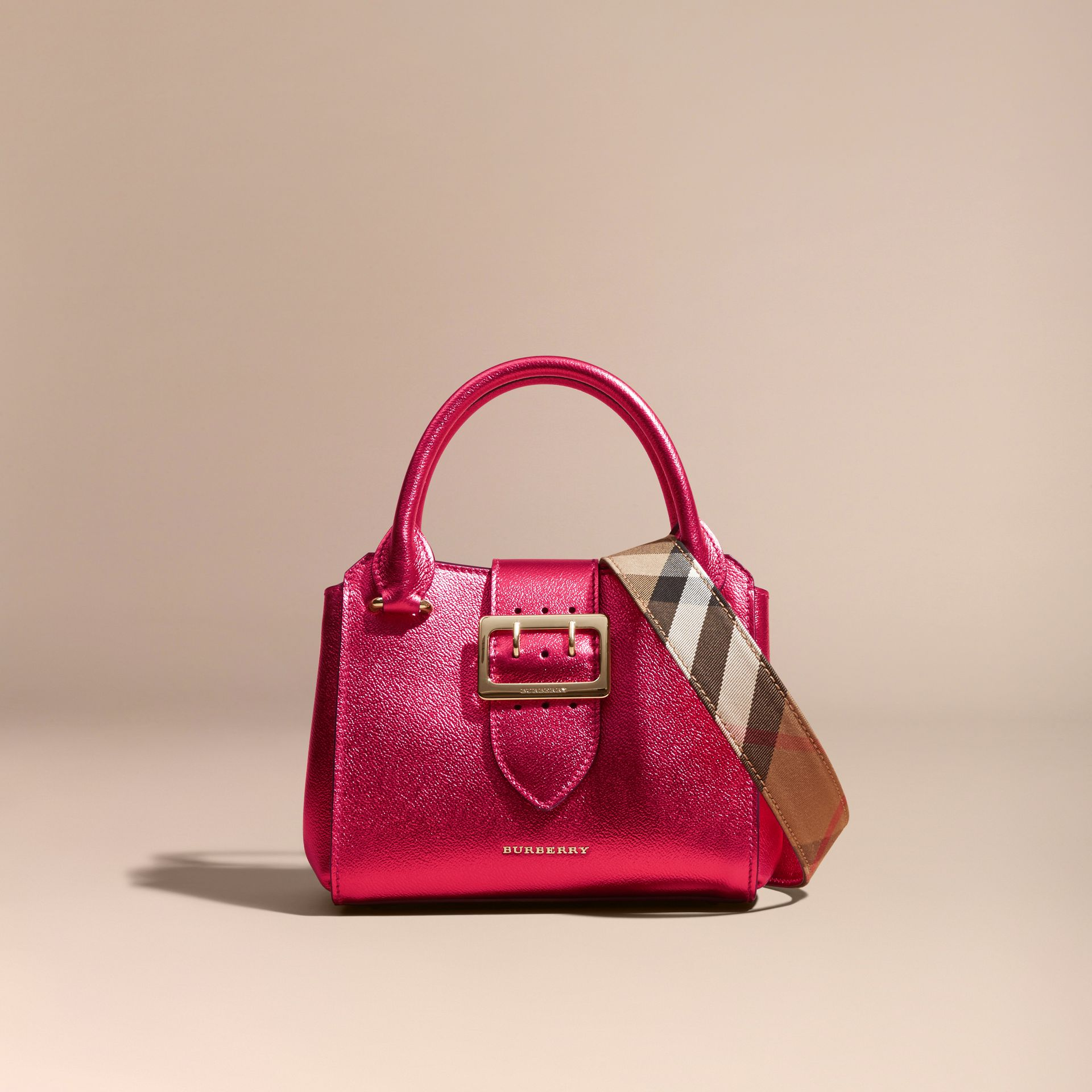 The Small Buckle Tote in Metallic Leather Bright Pink - gallery image 8