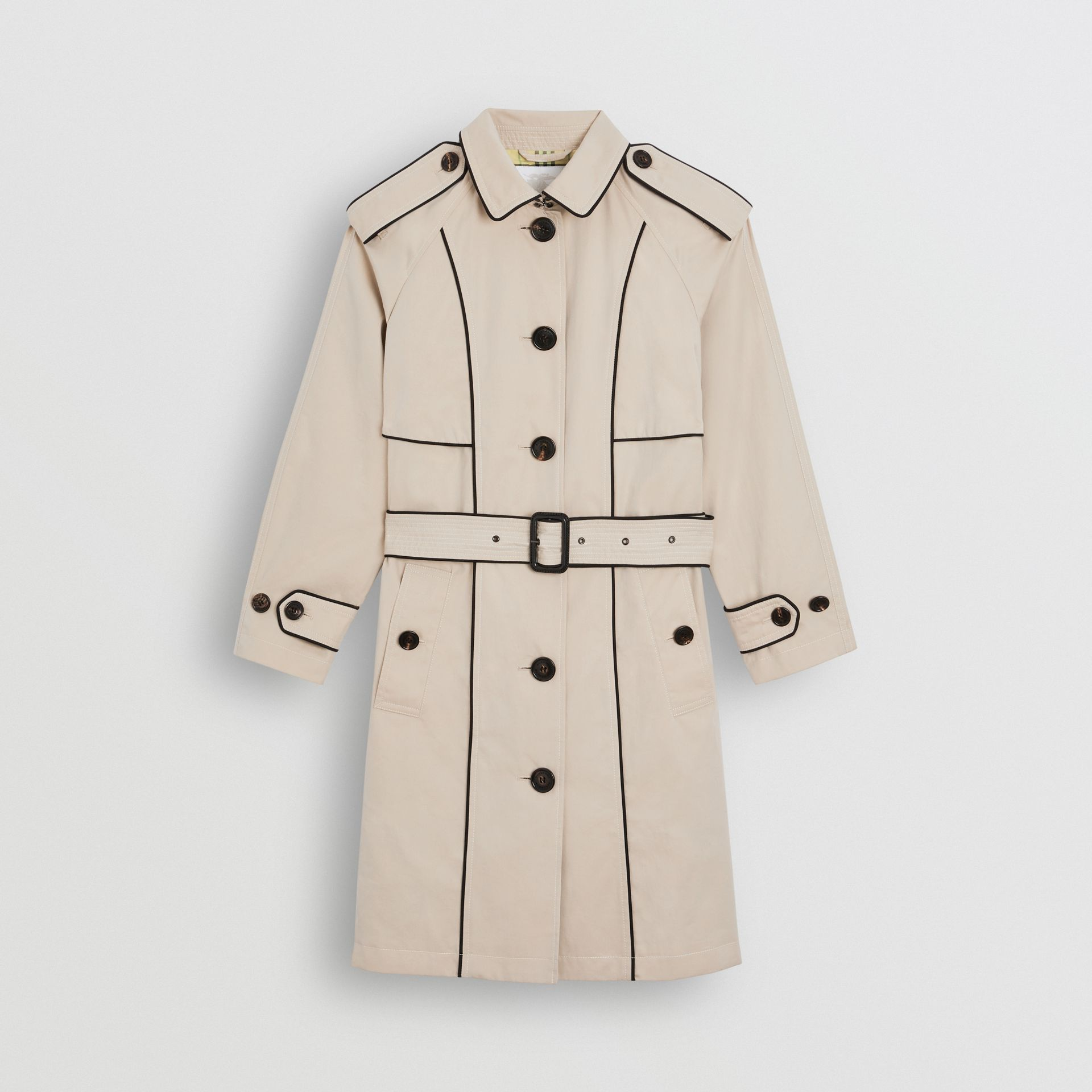 Piping Detail Tropical Gabardine Trench Coat in Stone | Burberry - gallery image 0