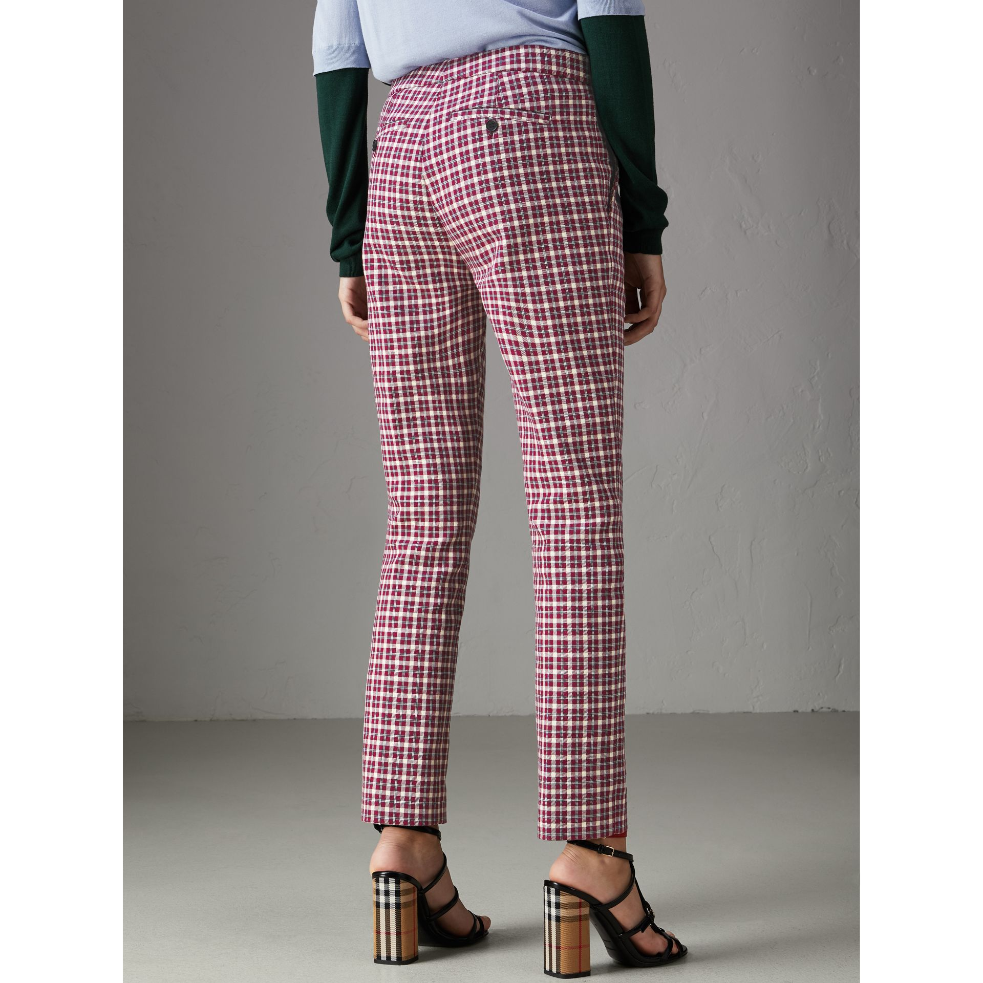 Straight-fit Check Cotton Tailored Trousers in Burgundy - Women | Burberry - gallery image 2