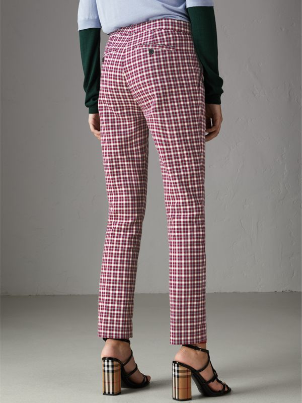 Straight-fit Check Cotton Tailored Trousers in Burgundy - Women | Burberry United Kingdom - cell image 2