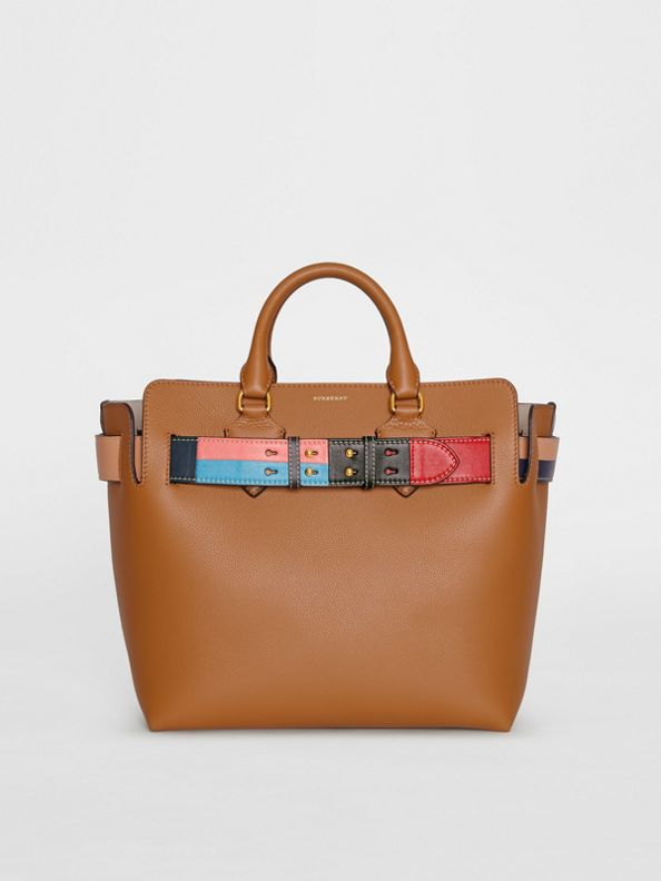 The Medium Leather Colour Block Detail Belt Bag in Cognac