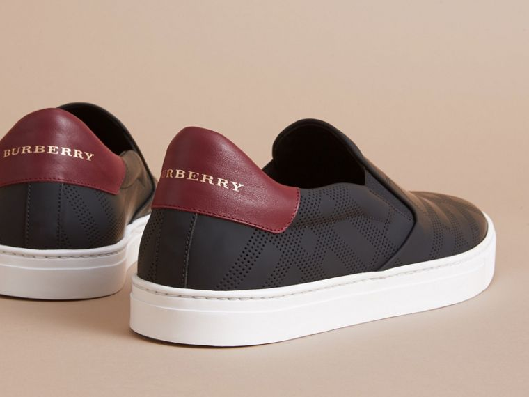 Perforated Check Leather Slip-on Trainers in Black/deep Claret Melange - Men | Burberry - cell image 4