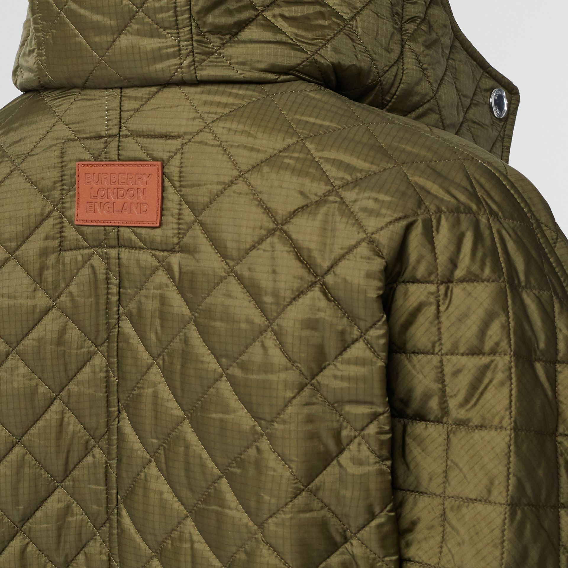 Corduroy Trim Quilted Hooded Cape in Military Olive - Women   Burberry United States - gallery image 5
