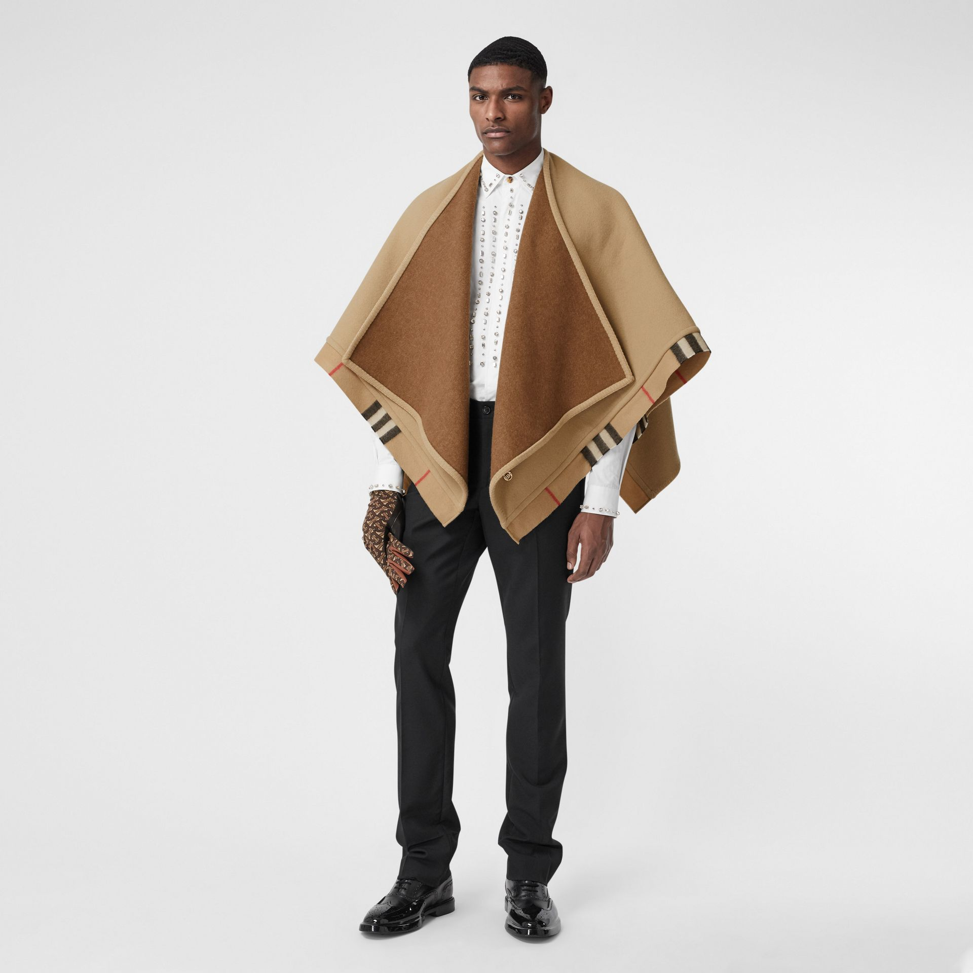 Check Trim Wool Cashmere Cape in Archive Beige - Women | Burberry - gallery image 11