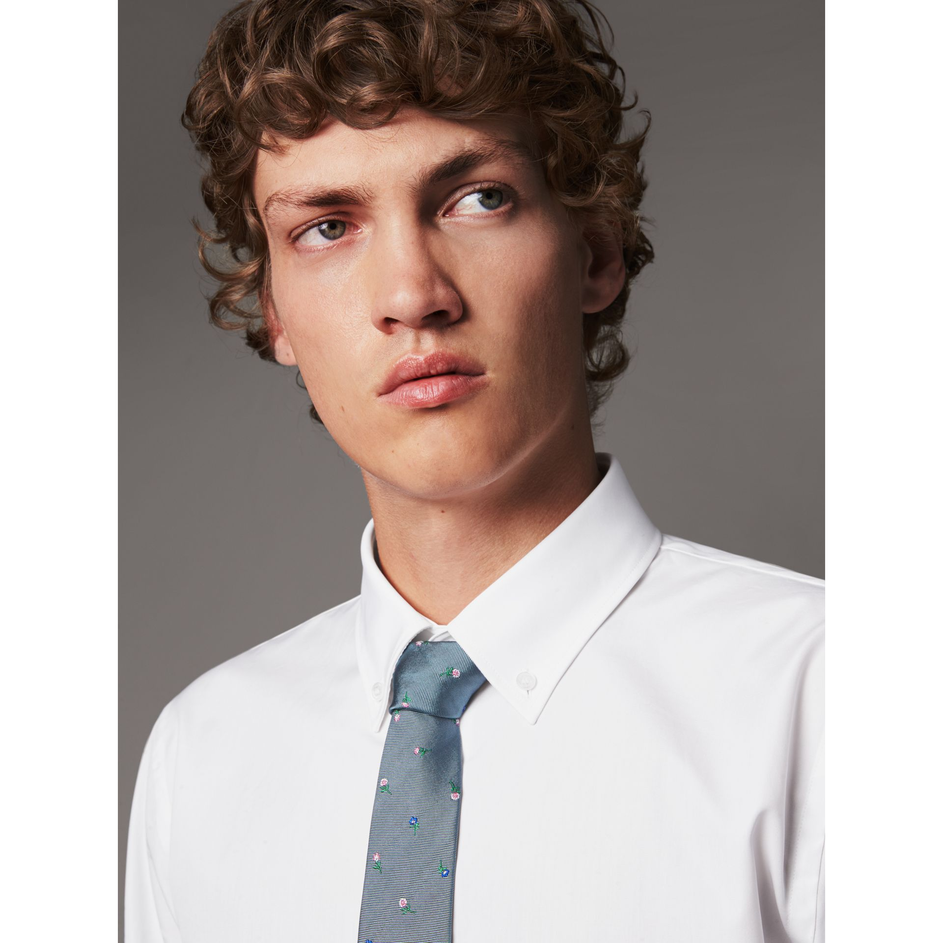 Slim Fit Button-down Collar Cotton Poplin Shirt in White - Men | Burberry - gallery image 2
