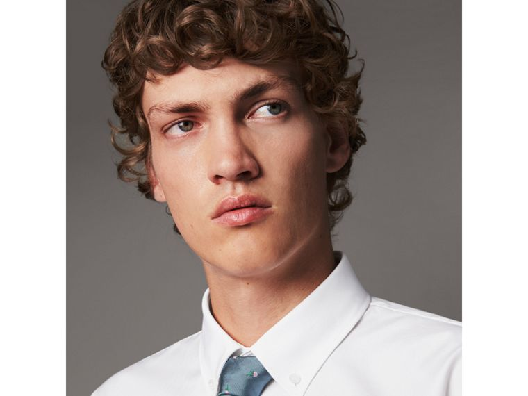 Slim Fit Button-down Collar Cotton Poplin Shirt in White - Men | Burberry Australia - cell image 1