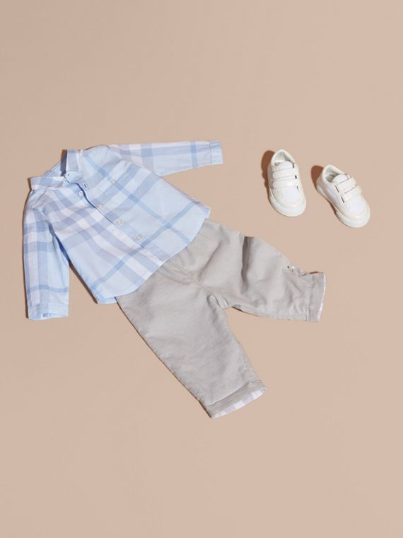 Washed Check Cotton Shirt in Ice Blue