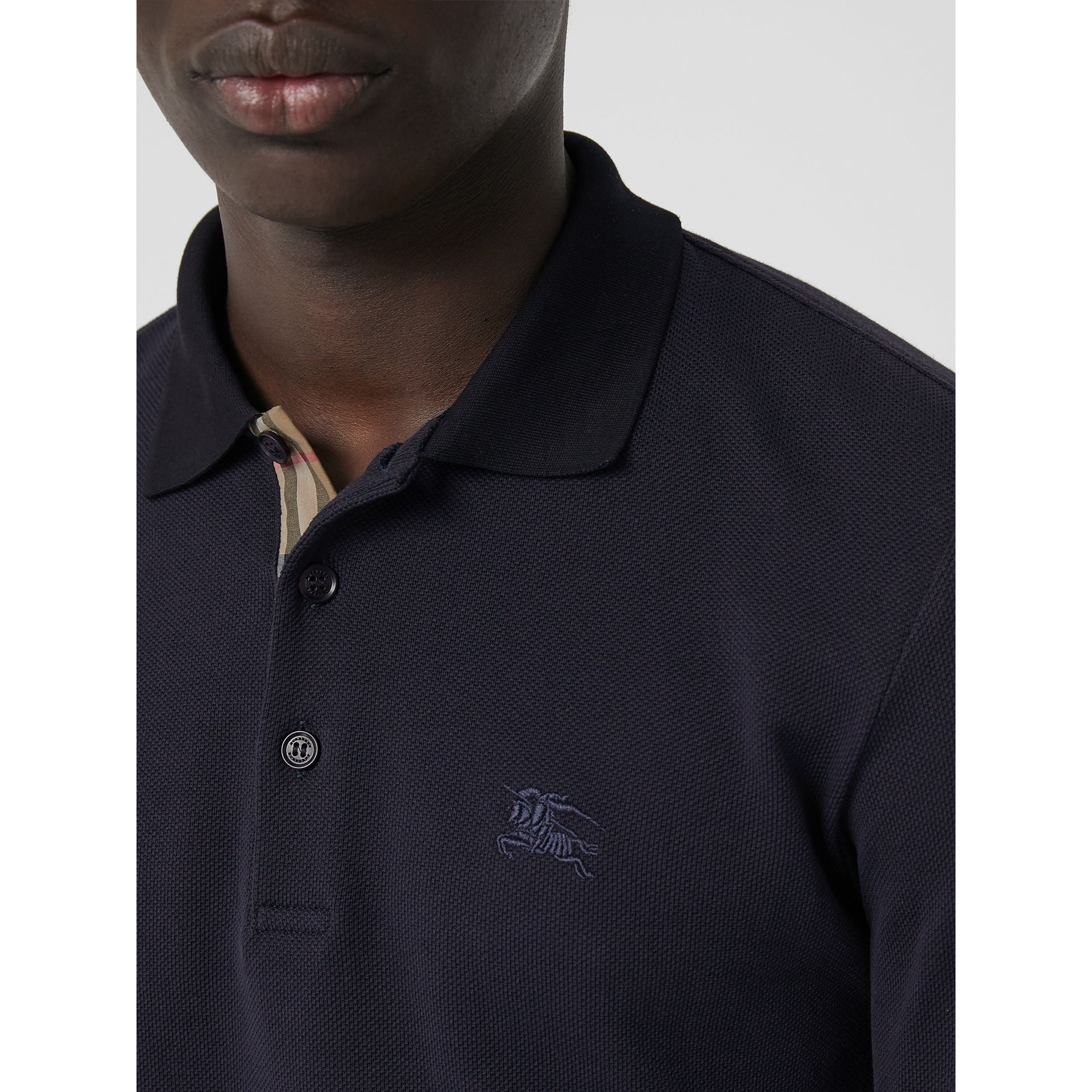 Long-sleeve Cotton Piqué Polo Shirt in Navy - Men | Burberry Australia - gallery image 1