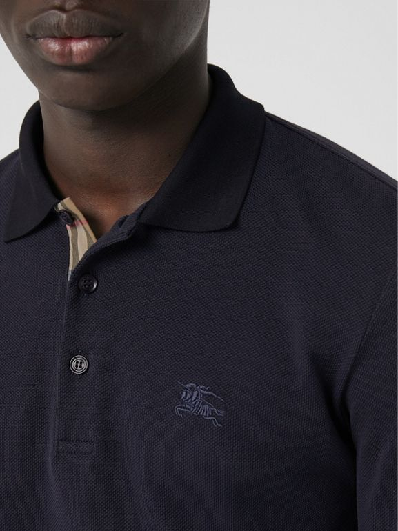 Long-sleeve Cotton Piqué Polo Shirt in Navy - Men | Burberry Australia - cell image 1