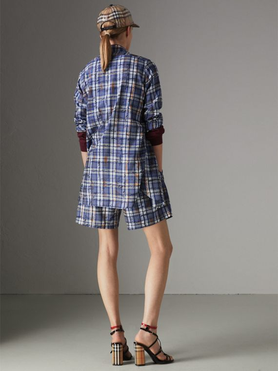 Scribble Check Silk Shirt in Navy/white - Women | Burberry - cell image 2