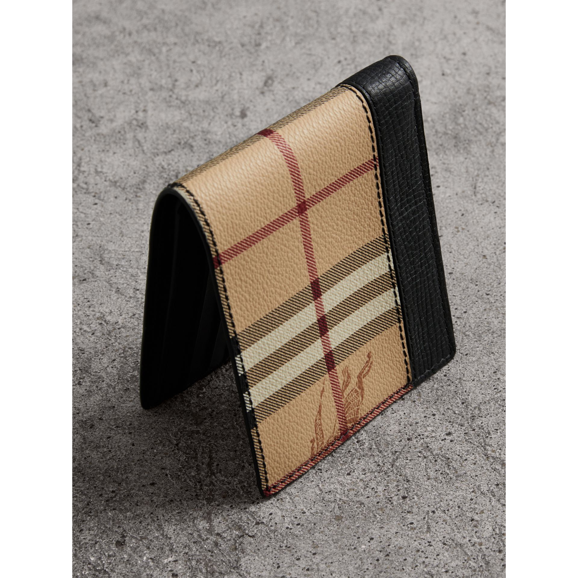 Haymarket Check and Leather ID Wallet in Black - Men | Burberry - gallery image 2
