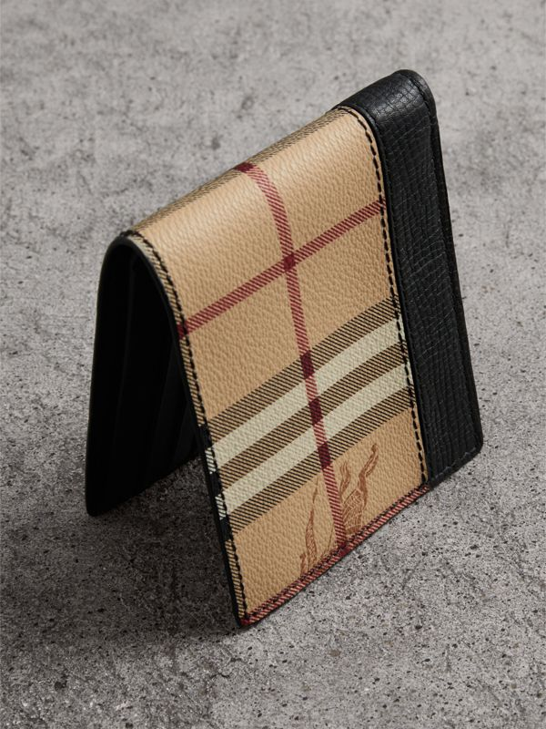 Haymarket Check and Leather ID Wallet in Black - Men | Burberry Australia - cell image 2