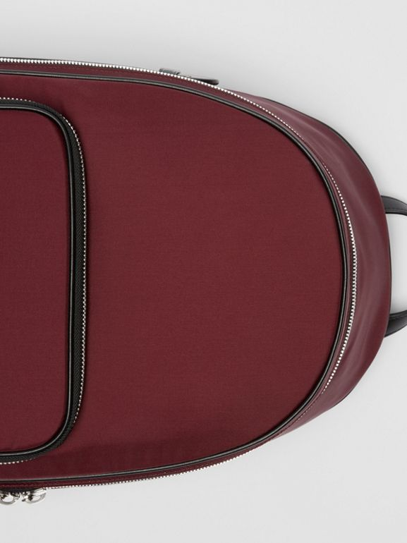 Icon Stripe Detail Nylon Backpack in Oxblood - Men | Burberry United States - cell image 1