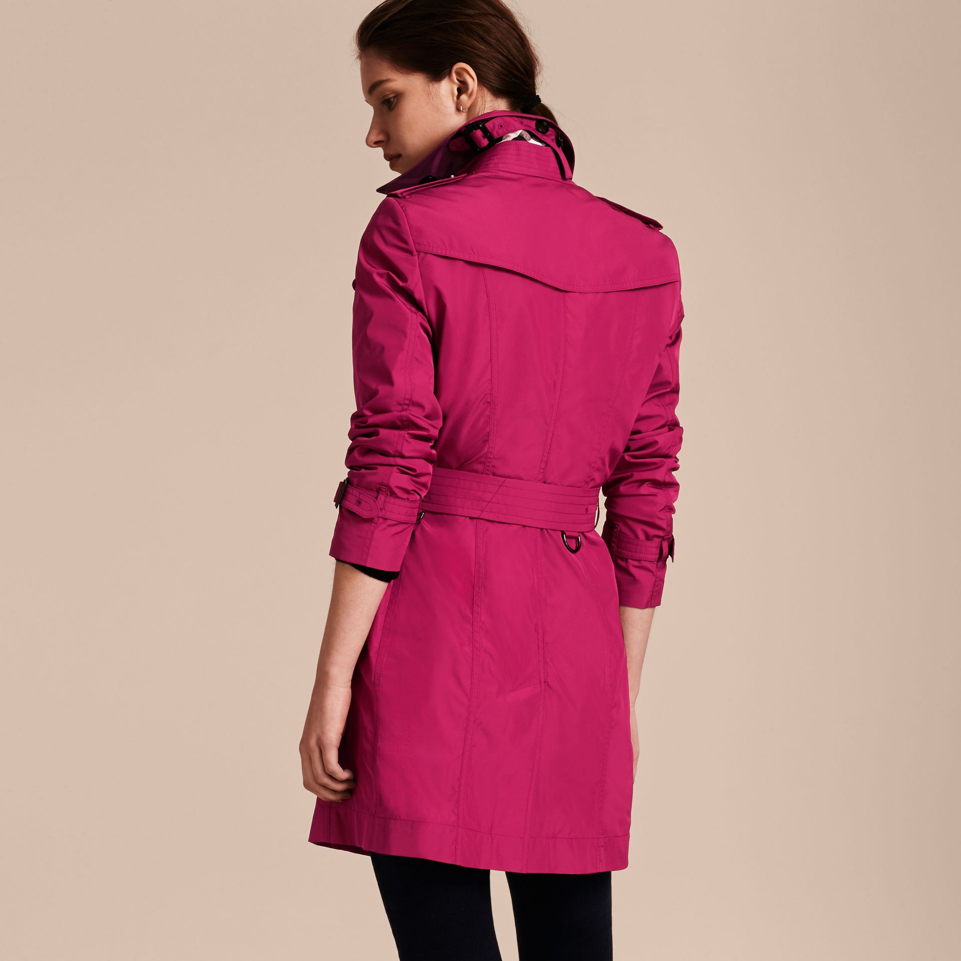 Mid-length Technical Trench Coat Damson Magenta - gallery image 3