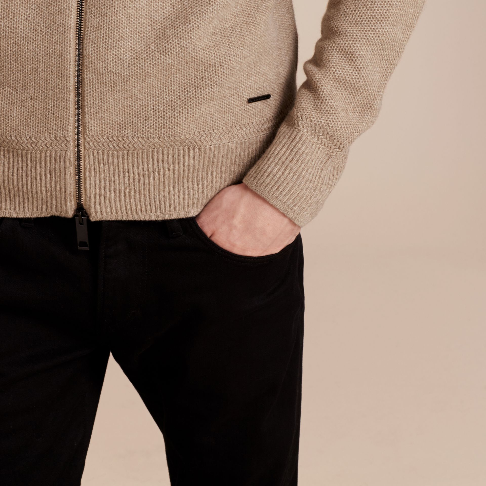 Stone Zip Front Wool Cashmere Cardigan Stone - gallery image 5