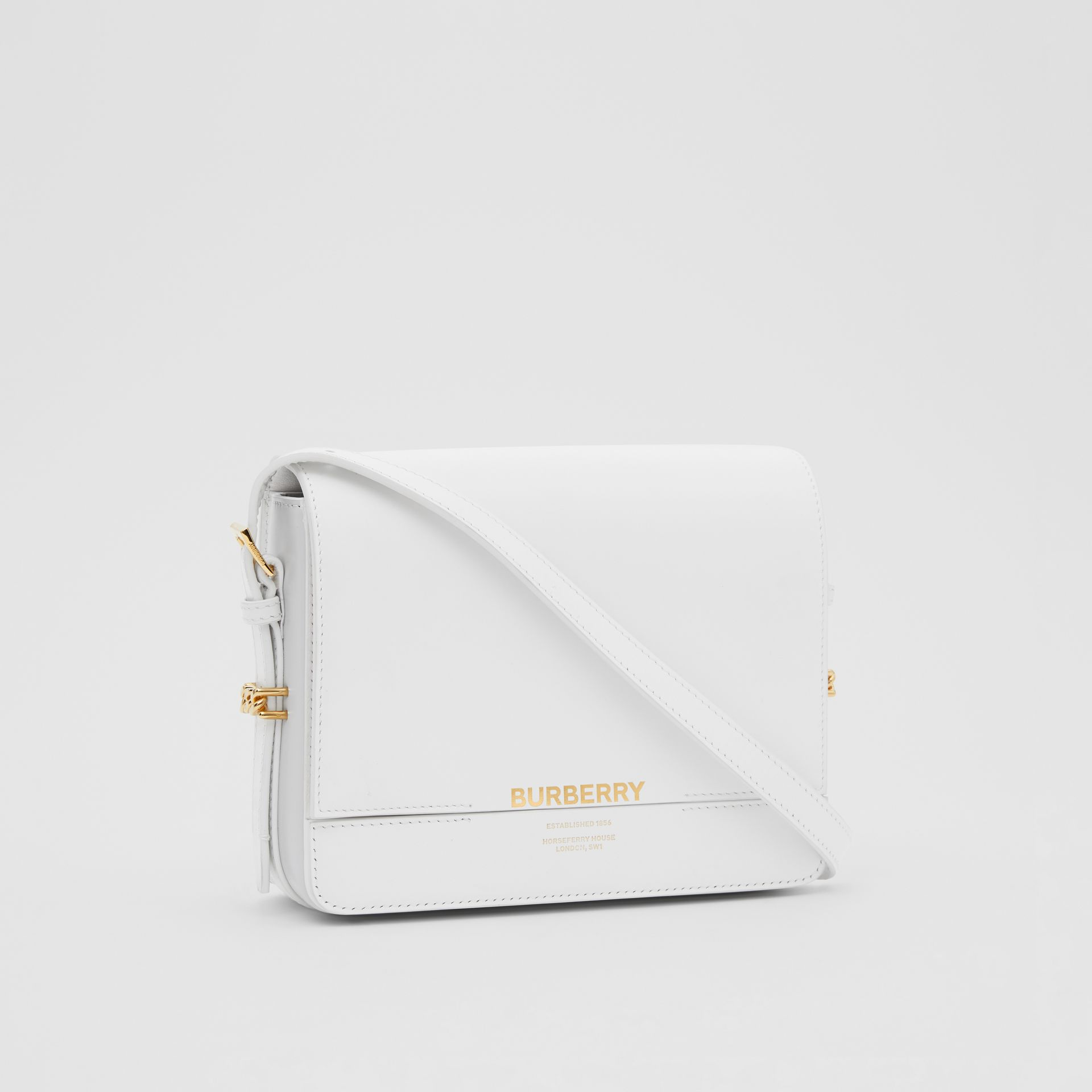 Small Two-tone Leather Grace Bag in Optic White/light Pebble Grey - Women | Burberry - gallery image 6