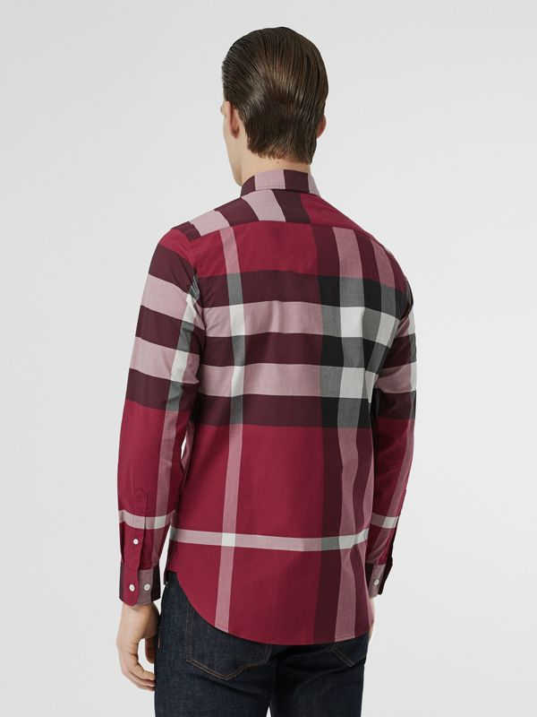 Check Stretch Cotton Shirt in Plum Pink - Men | Burberry - cell image 2