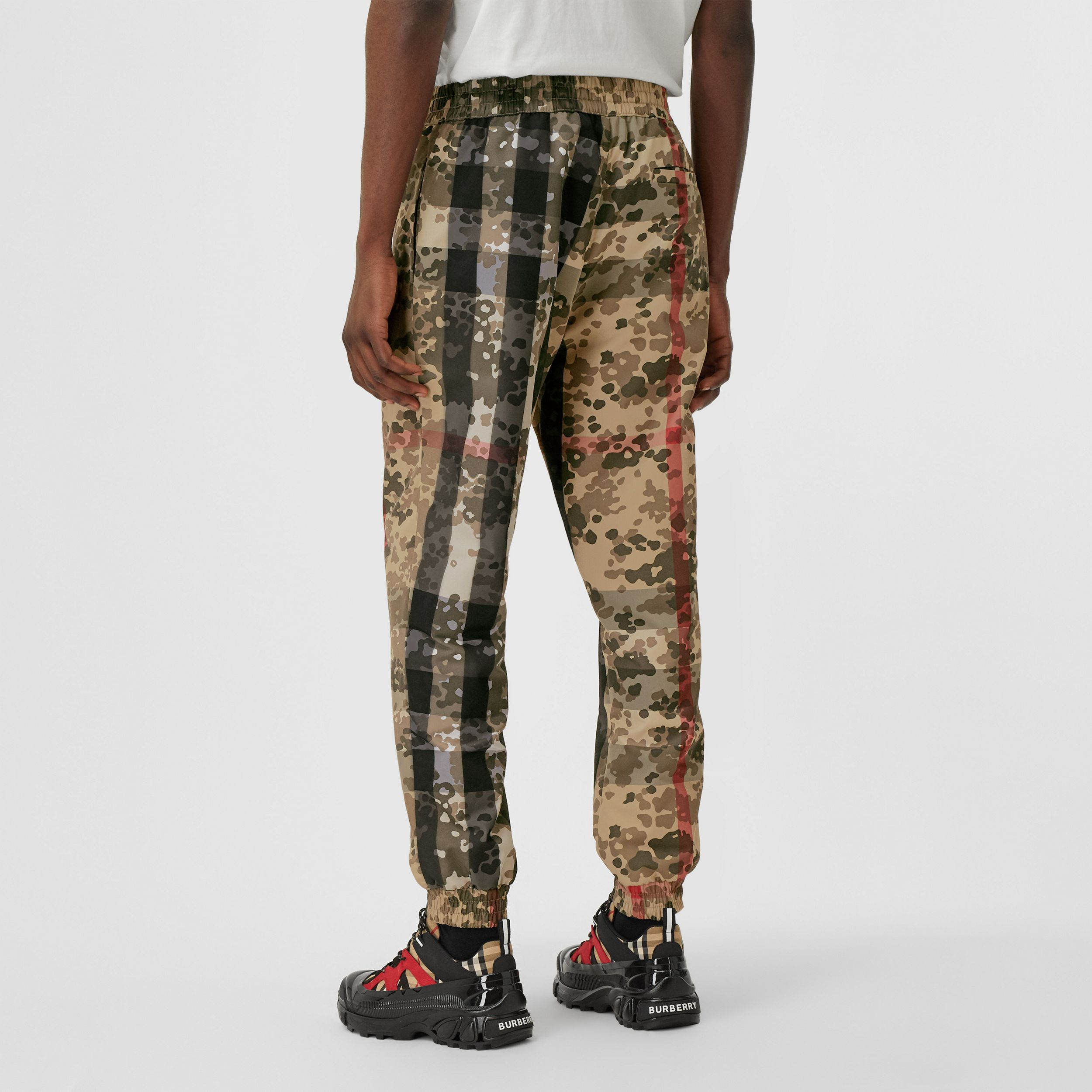 Camouflage Check Nylon Jogging Pants in Archive Beige - Men | Burberry - 3