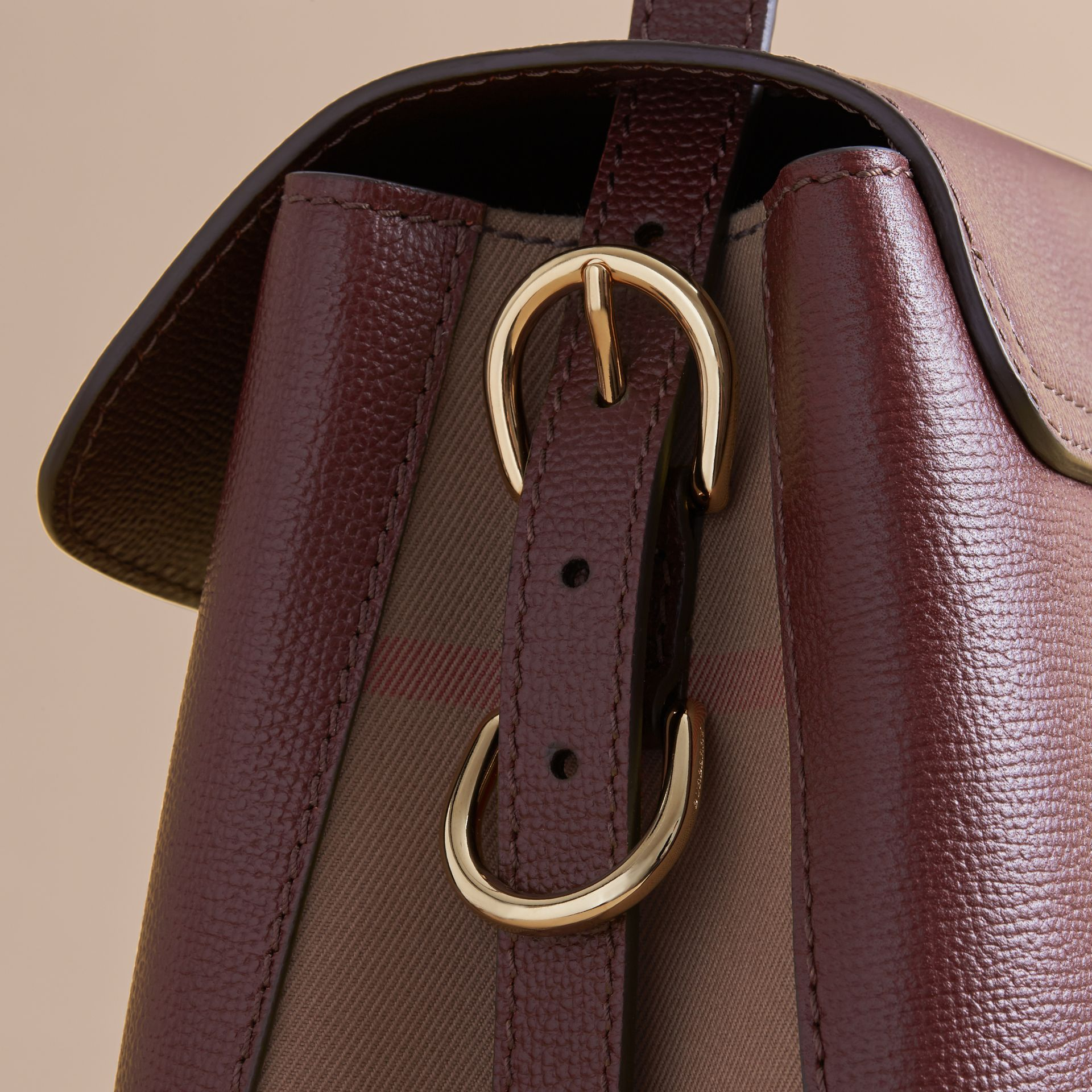 Medium Grainy Leather and House Check Tote Bag in Mahogany Red - Women | Burberry Australia - gallery image 7