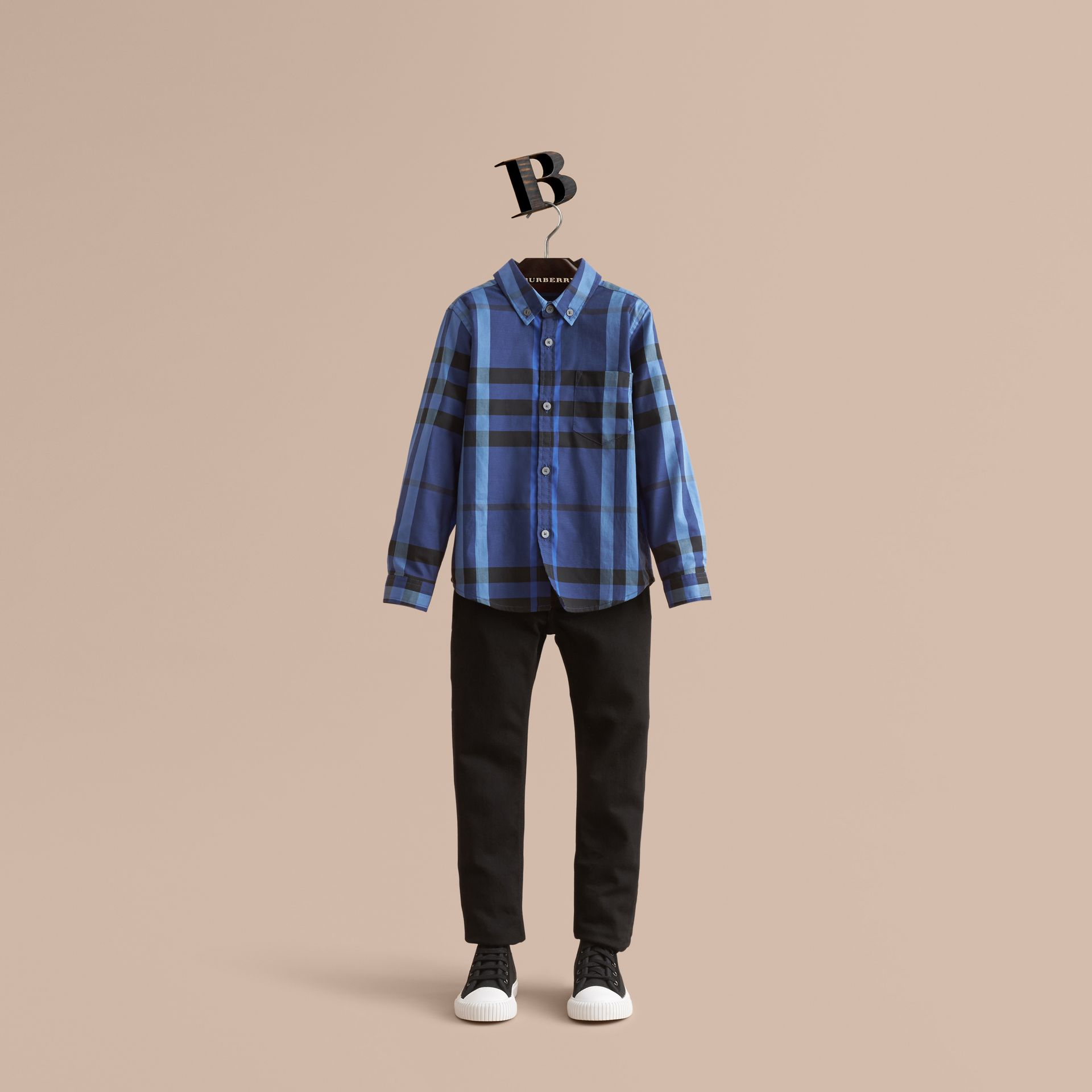 Check Cotton Button-Down Shirt in Brilliant Blue - Boy | Burberry - gallery image 0