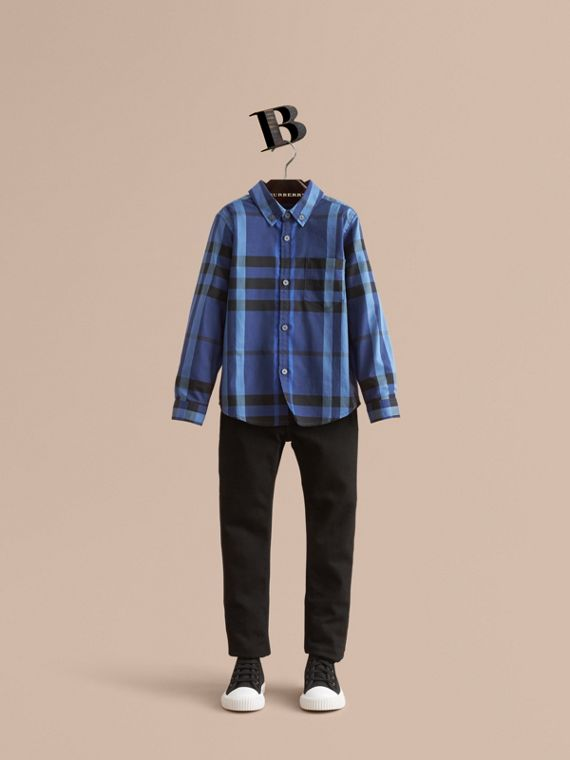 Check Cotton Button-Down Shirt in Brilliant Blue