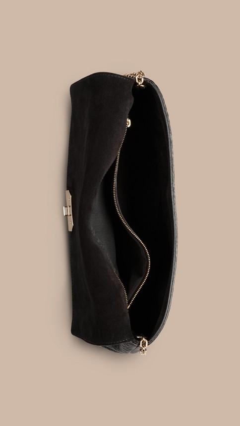 Black Medium Signature Grain Leather Clutch Bag Black - Image 6