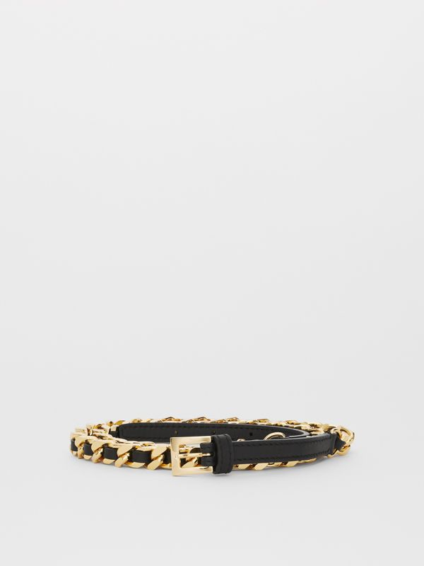D-ring Detail Leather and Chain Belt in Black - Women | Burberry - cell image 2