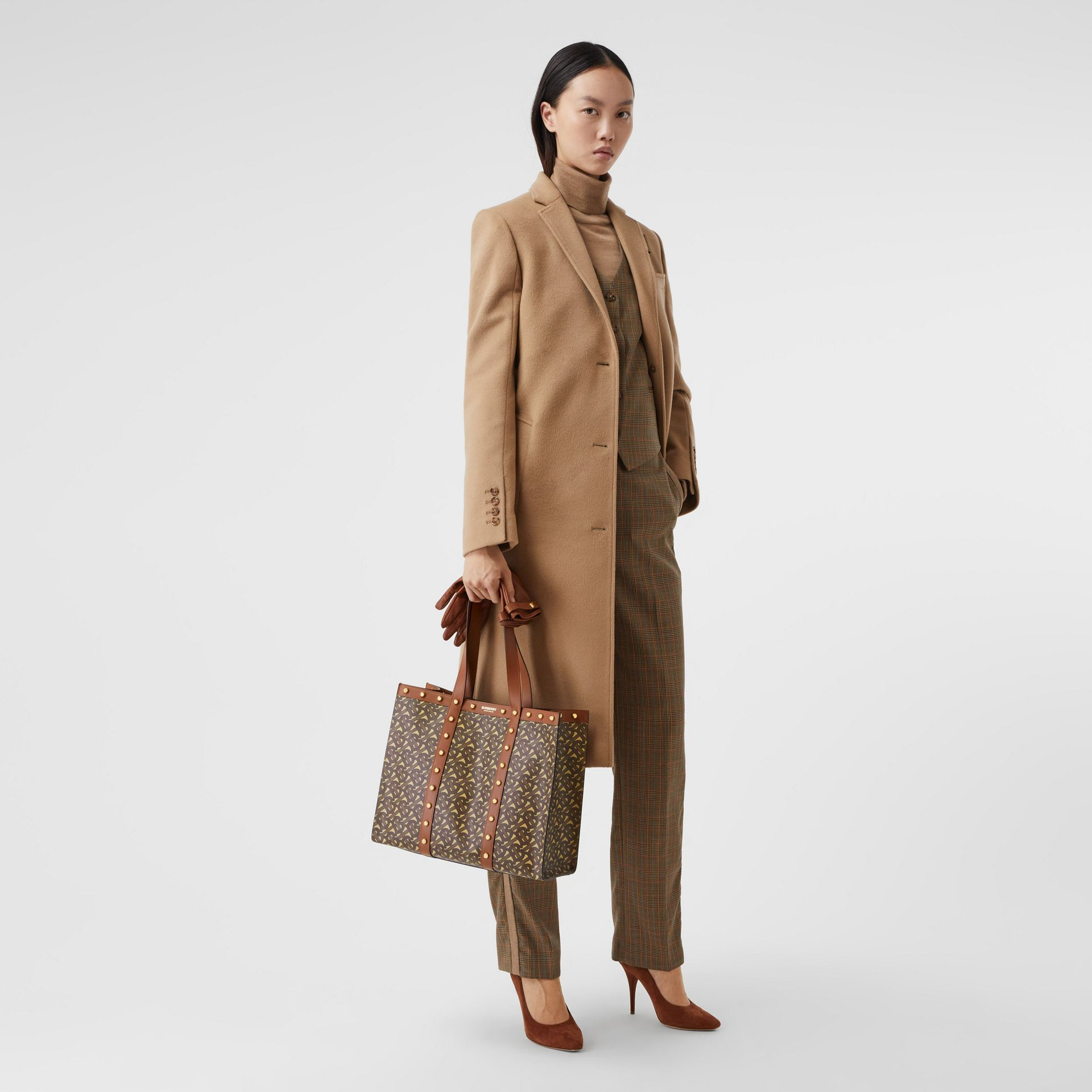 Small Monogram Print E-canvas Tote Bag in Tan | Burberry Hong Kong S.A.R - gallery image 6