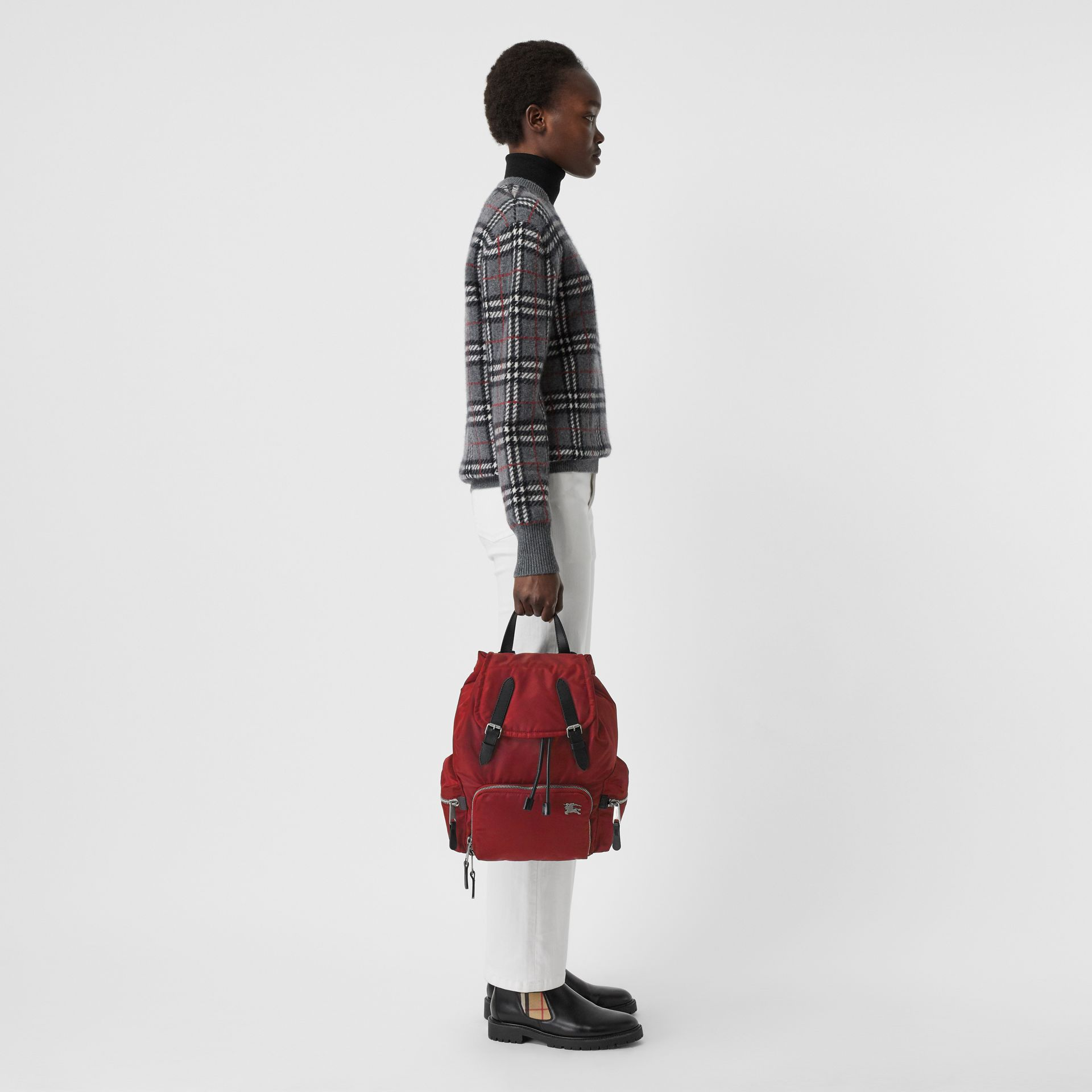 The Medium Rucksack in Nylon and Leather in Burgundy Red - Women | Burberry United Kingdom - gallery image 2