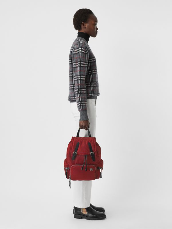 The Medium Rucksack in Nylon and Leather in Burgundy Red - Women | Burberry United Kingdom - cell image 2