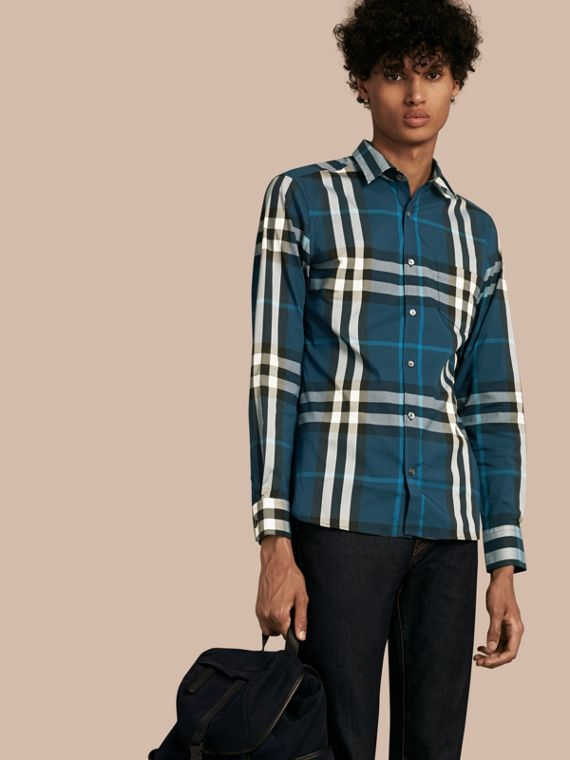 Check Stretch Cotton Shirt Marine Blue