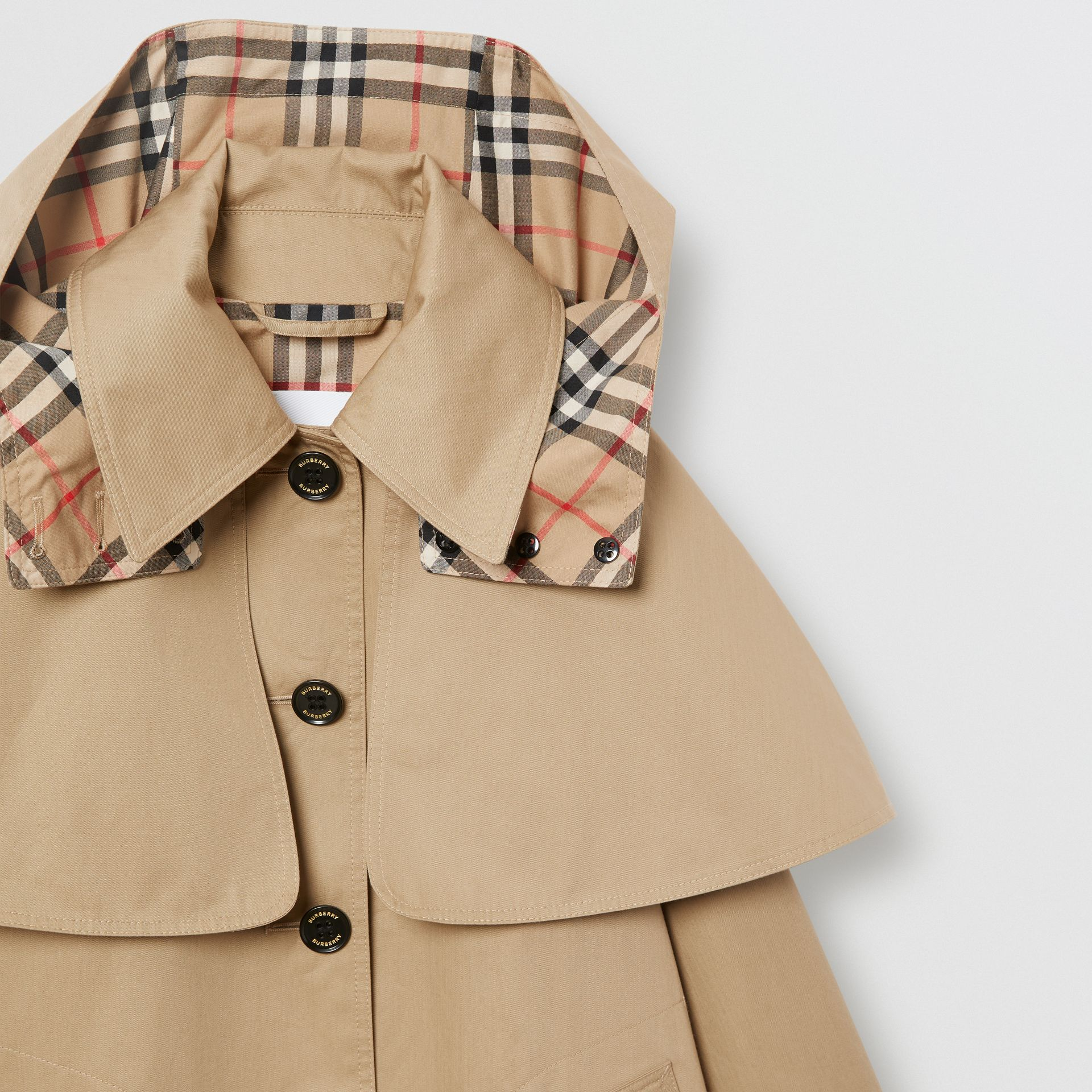 Detachable Hood Showerproof Cotton Swing Coat in Honey | Burberry - gallery image 3